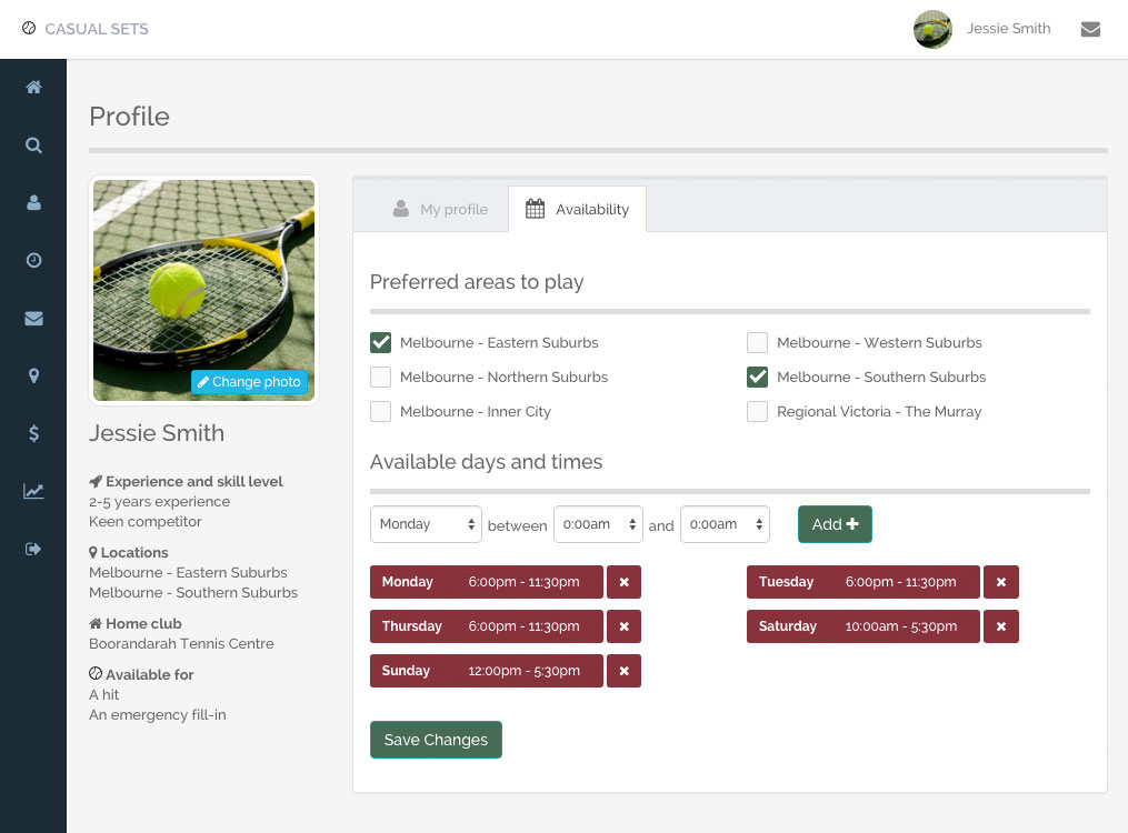 Update your own tennis profile and availability